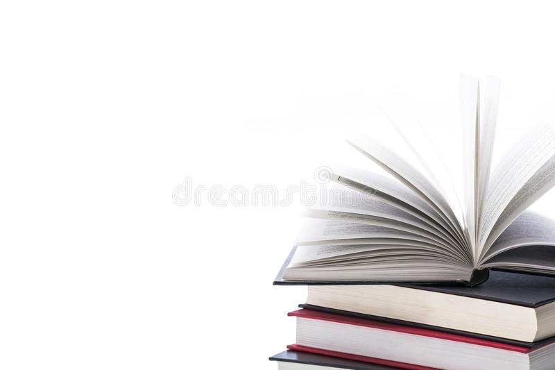 Hardcover books on white background, close up. Hardcover books on white background stock images