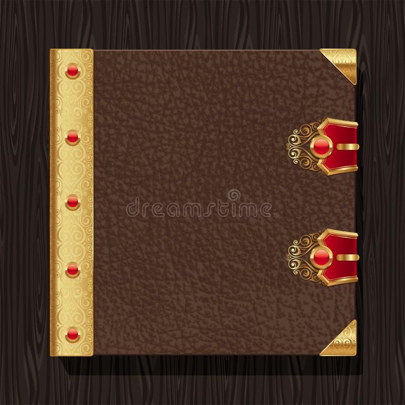 Hardcover de cuero del libro de la vendimia stock de ilustración