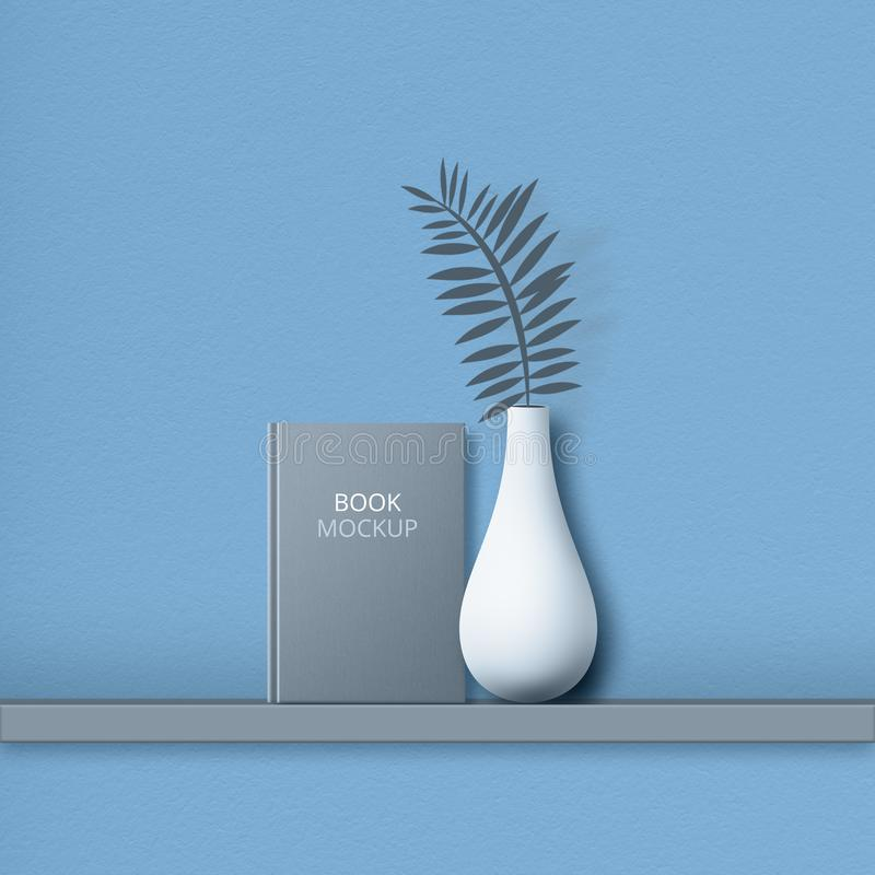 Hardcover of mockup book, on shelf, vase with fern, isolated over blue backgroound. Empty space for your advertising content stock images