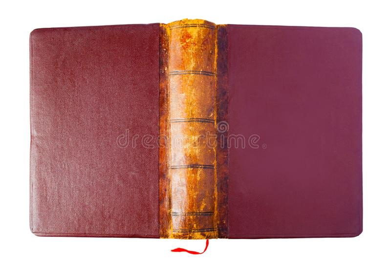 Hardcover of a vintage opened brown book stock photo