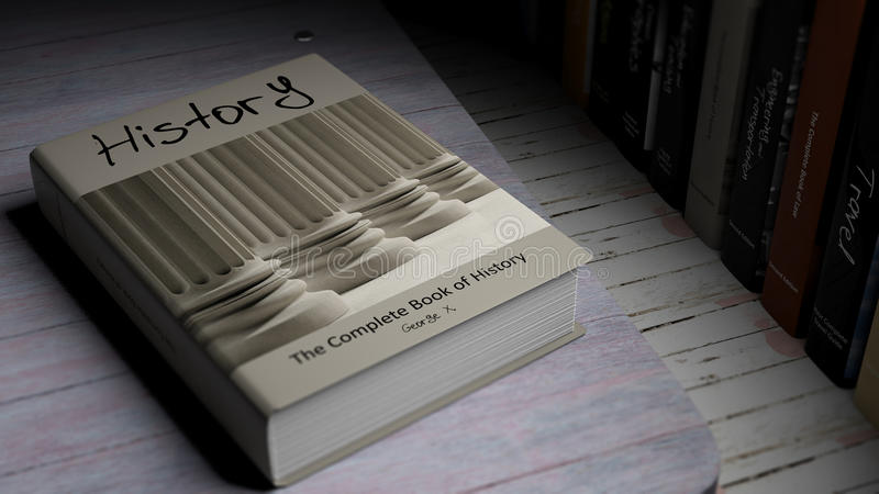Hardcoverbok på historia med illustrationen på räkningen stock illustrationer