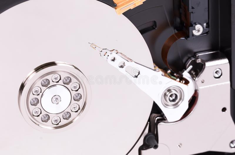 Harddisk close-up details of the computer. Selective focus royalty free stock photo