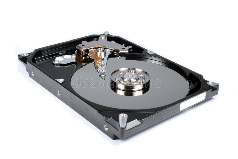 Harddisk drive isolated. Harddisk drive with top cover open isolated stock photos