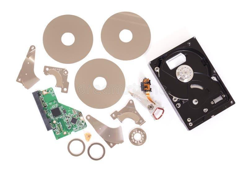 Harddisk w górę szczegółów komputer, harddisk w częściach fotografia stock