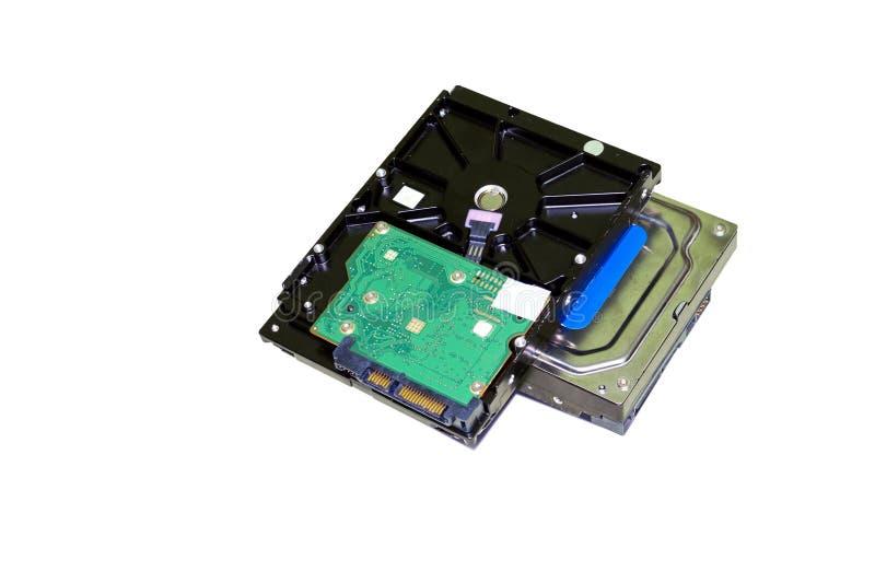 Harde aandrijving, Harde schijf van een computer die op witte achtergrond wordt geïsoleerd stock foto