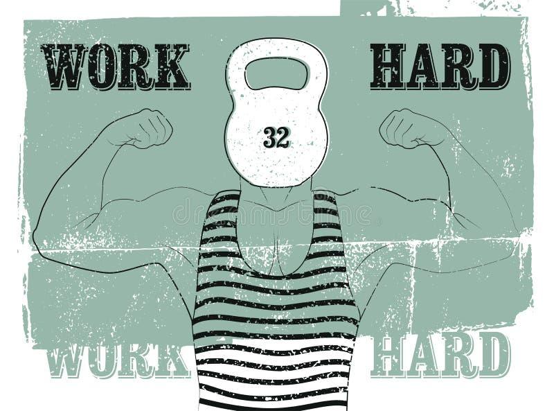 Harde het werk Retro de afficheontwerp van Gymnastiek typografisch uitstekend grunge met de sterke mens Retro vectorillustratie vector illustratie