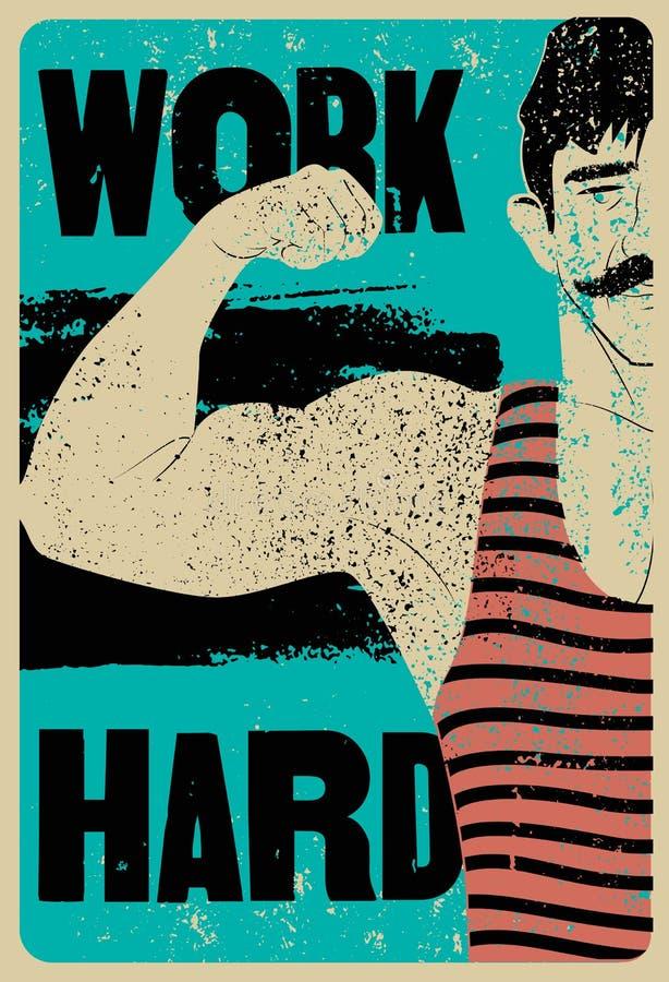 Harde het werk Retro de afficheontwerp van Gymnastiek typografisch uitstekend grunge met de sterke mens Retro vectorillustratie royalty-vrije illustratie