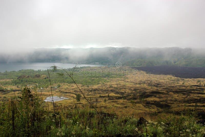 Hardened lava of the volcano Batur. Island of Bali royalty free stock photo
