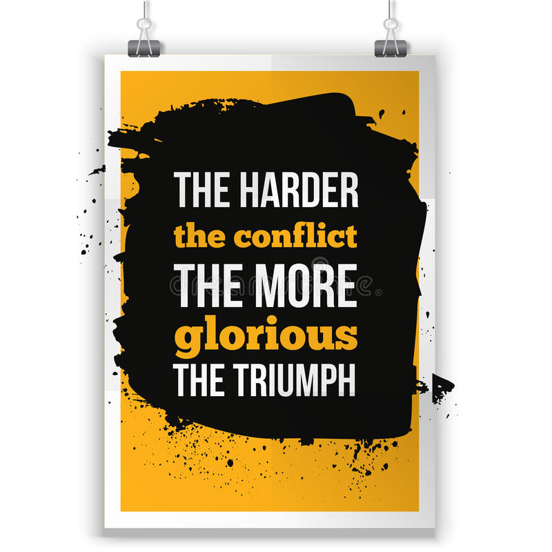 Harder het conflict meer glorierijk de triomf Positieve bevestiging, inspirational citaat voor T-shirtgrafiek stock illustratie