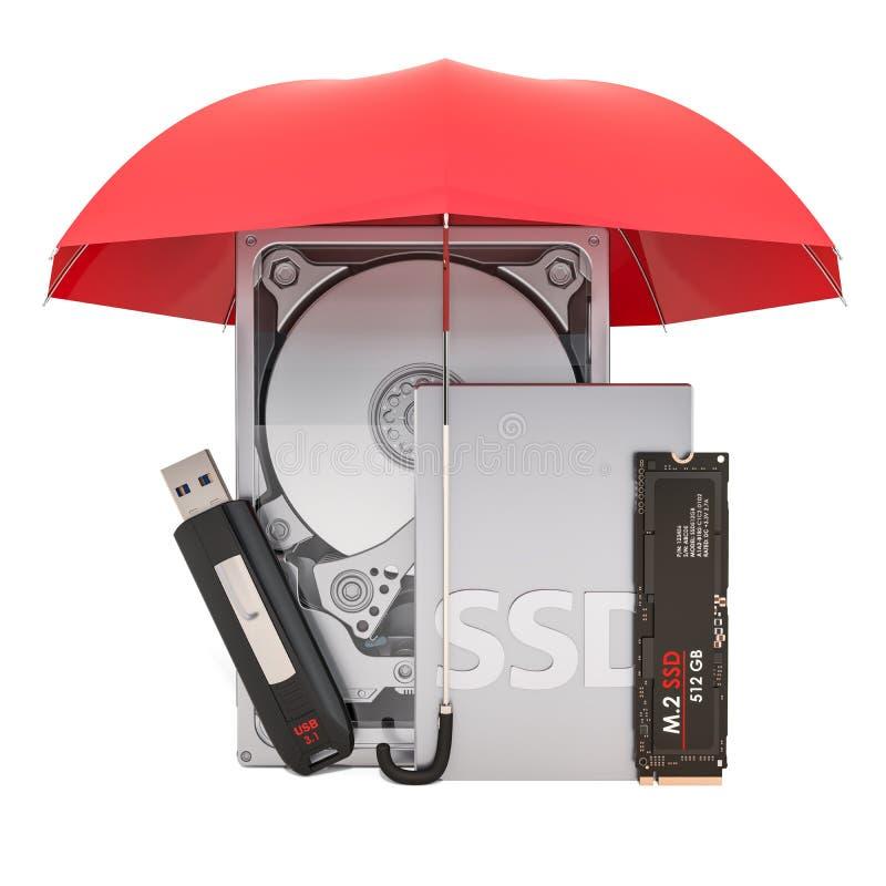 Hardeschijfstation HDD, solid-state drive SSD, M2 SSD en USB-flashstation onder paraplu, beschermingsconcept het 3d teruggeven stock illustratie