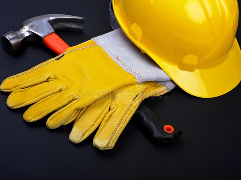 Download HardHat Hammer And Gloves stock image. Image of isolated - 14860155