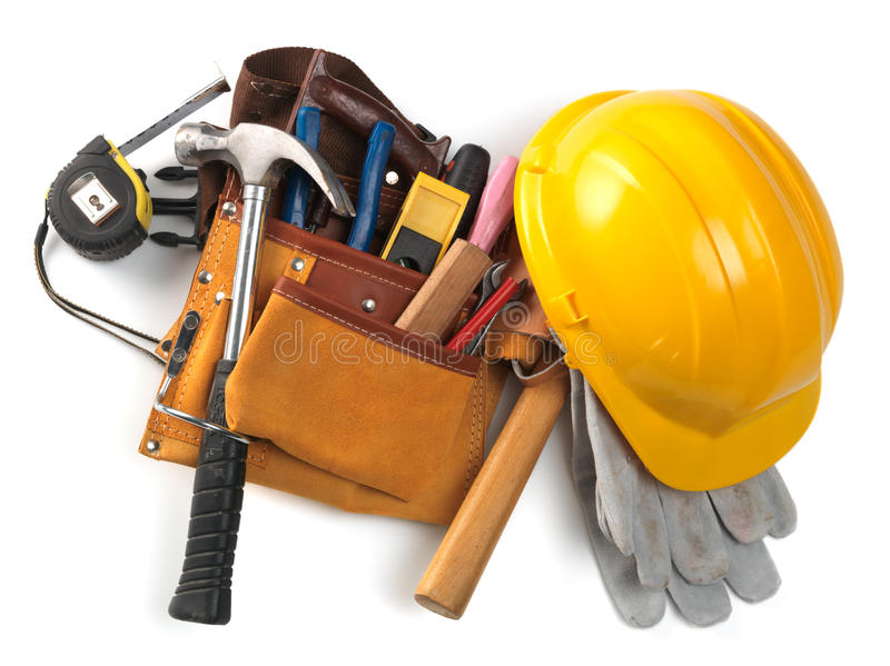Hardhat and tool belt royalty free stock photos