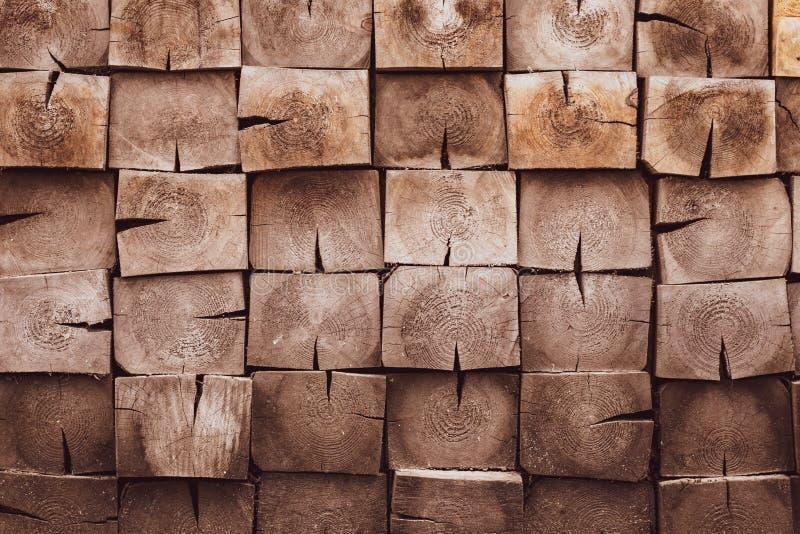 Hardhoutachtergrond Patroon met vuile vierkante planken Bruine houten textuur Pijnboomhout - materiële, lege ruimte Eik, korrelho royalty-vrije stock afbeeldingen