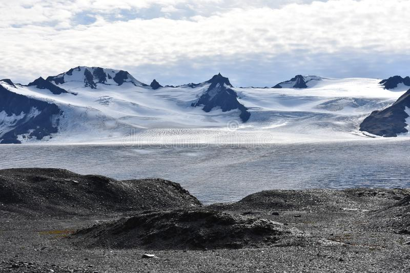 Harding Ice Field in Seward, Alaska. This amazing view can be seen from Harding Ice Field Trail, which is the intermediate level hiking course that is 8 miles royalty free stock photography