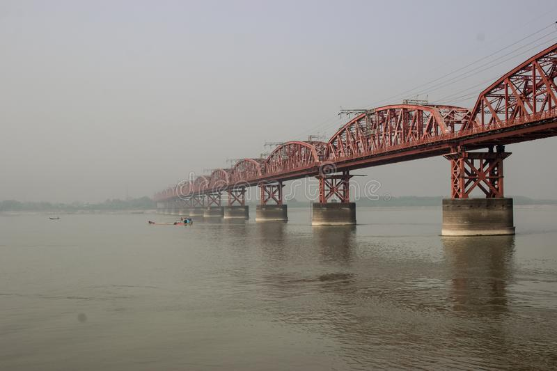 Hardinge bridge Longest Rail bridge i Bangladesh royaltyfria bilder