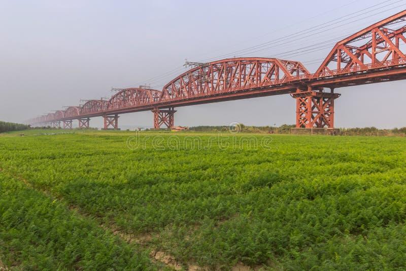 Hardinge bridge Longest Rail bridge i Bangladesh arkivbild