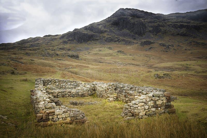 Hardknott Roman Fort, Meerdistrict, Engeland stock afbeelding