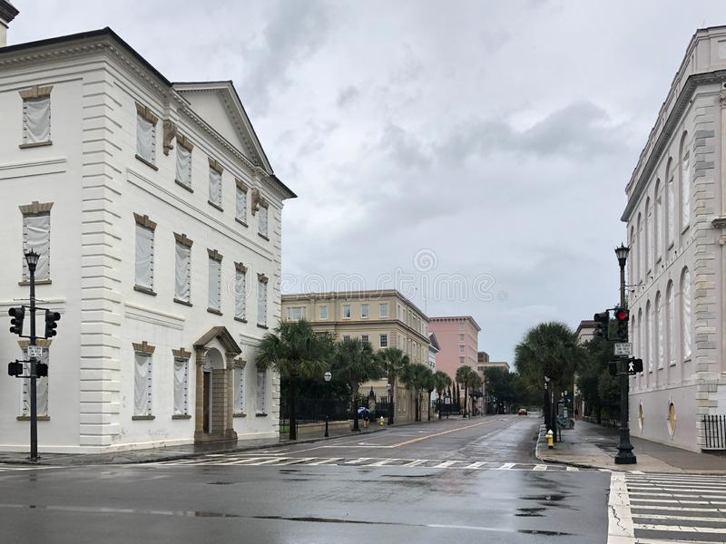 Charleston, SC Becomes a Ghost Town in Anticipation of Hurricane Dorian. Hardly any traffic on Meeting St in Charleston, SC as the city residents and tourists stock photo