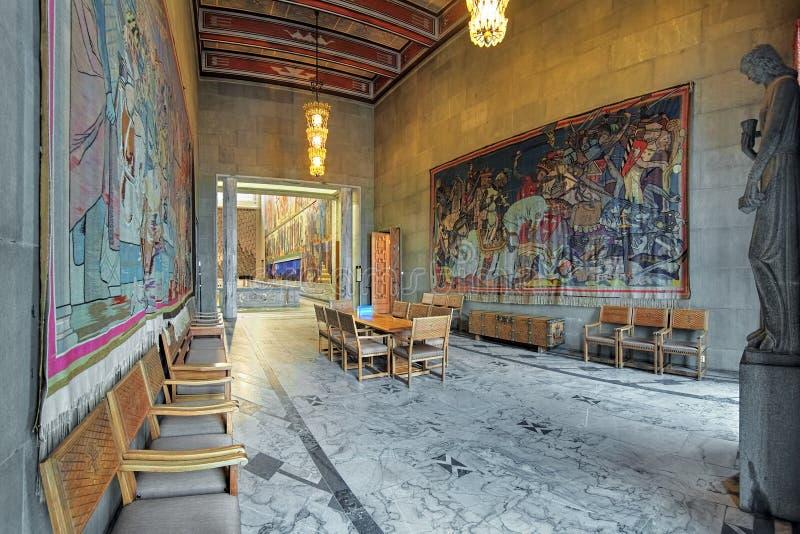 Hardrade室在奥斯陆香港大会堂,挪威 库存照片