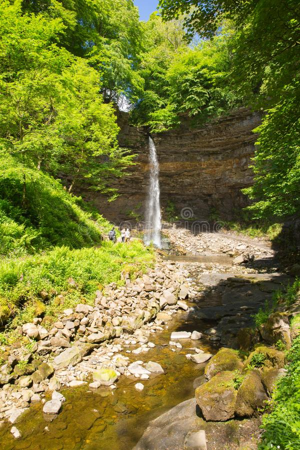 Hardraw Force waterfall near Hawes Yorkshire Dales tourist attraction stock photo