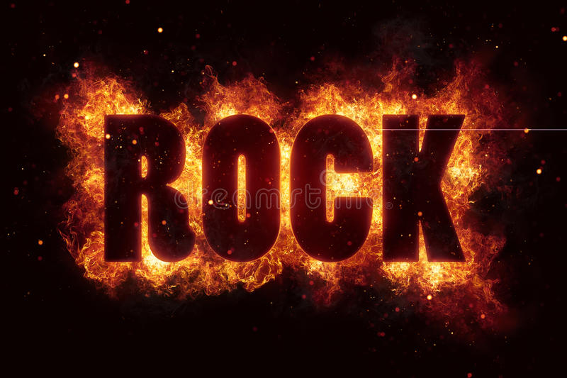 Hardrock rock music text on fire flames explosion stock for Firerock fireplace prices