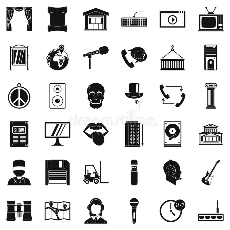 Hardware equipment icons set, simple style. Hardware equipment icons set. Simple set of 36 hardware equipment vector icons for web isolated on white background royalty free illustration
