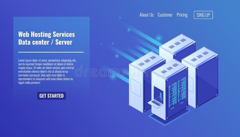 Hardware, estante del sitio del servidor, sitio web que recibe, ejemplo isométrico 3d del vector del datacenter de la base de dat ilustración del vector
