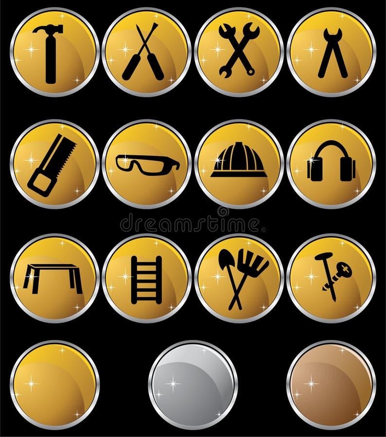 Hardware Icon Set: Gold Button Series - Round Stock Photos