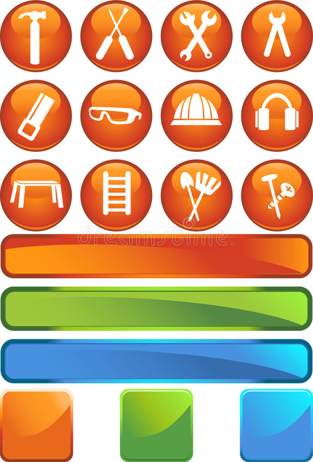 Download Hardware Icon Set: Round Web Button Series Stock Vector - Illustration: 9363308