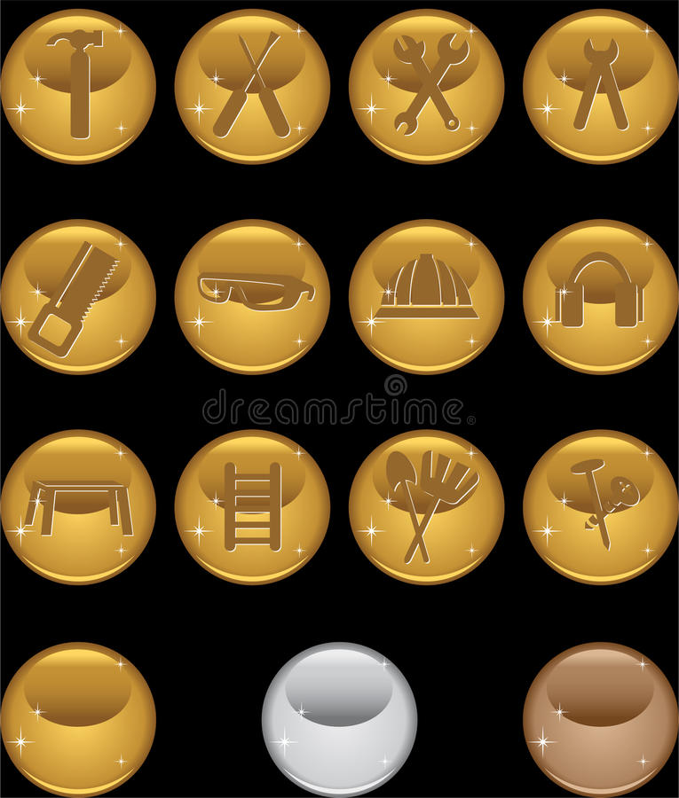 Hardware Icon Set: Round Web Button Series - Gold Stock Image