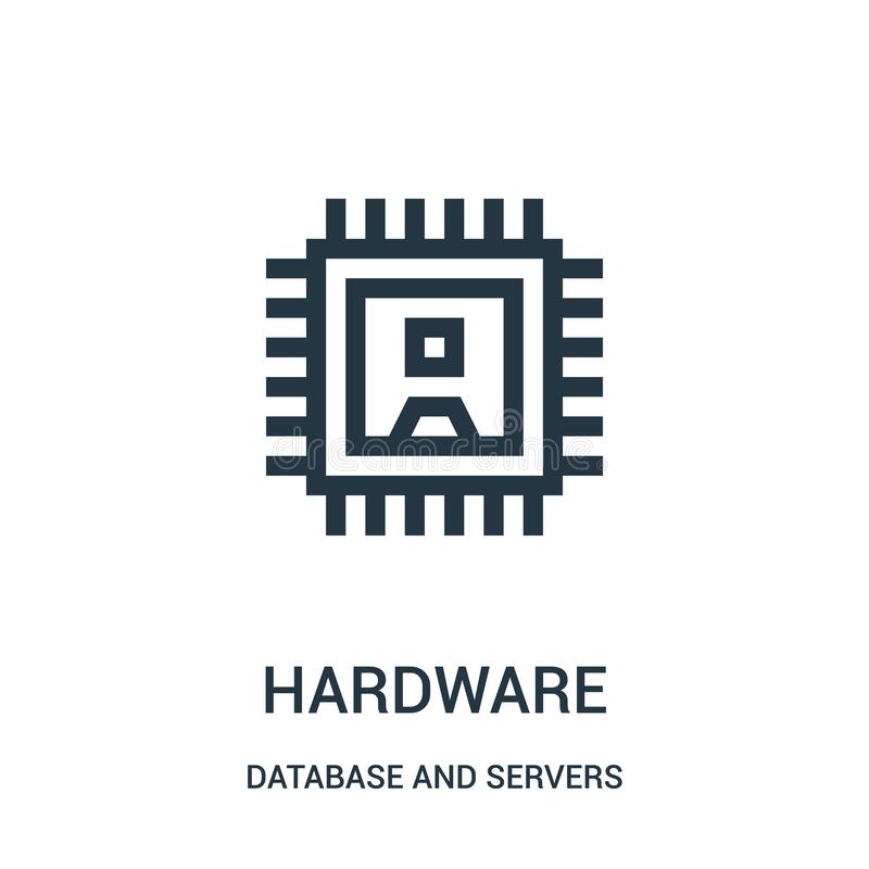 Hardware icon vector from database and servers collection. Thin line hardware outline icon vector illustration. Linear symbol for use on web and mobile apps stock illustration