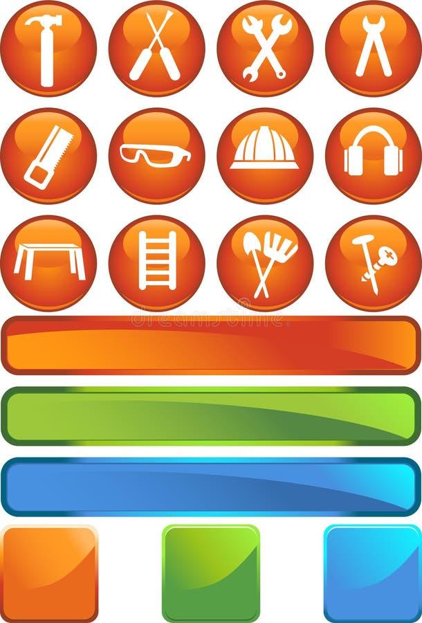 Hardware-Ikone eingestellt: Runde Web-Tasten-Serie vektor abbildung