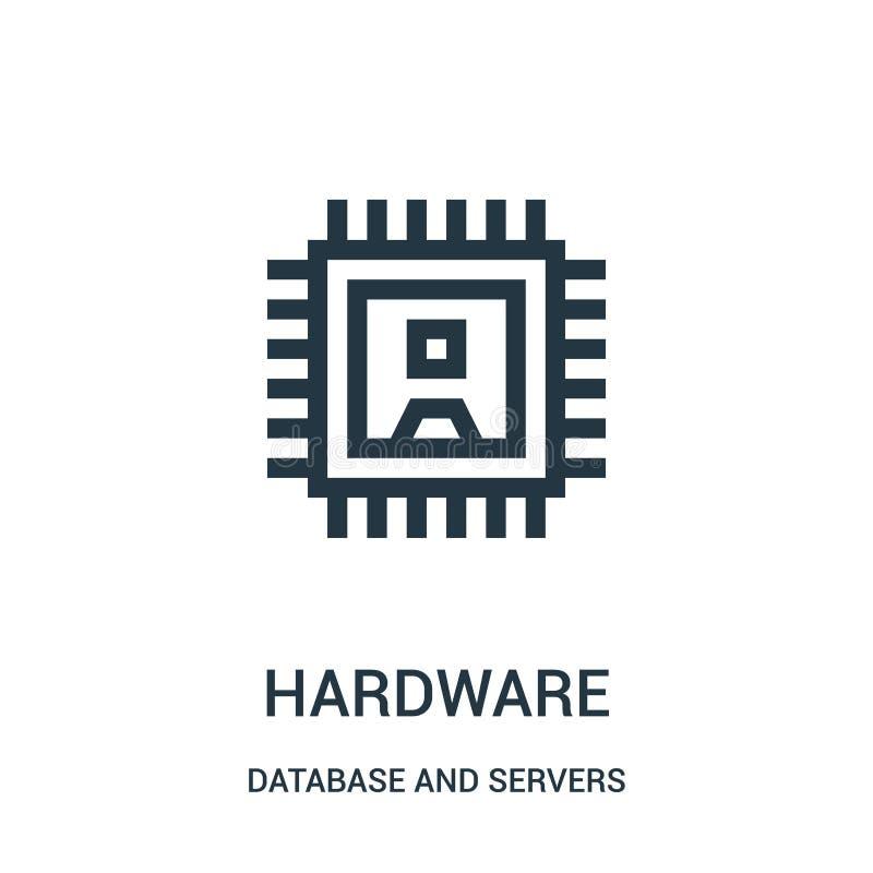 Hardware-Ikonenvektor von der Datenbank und von der Serversammlung Dünne Linie Hardware-Entwurfsikonen-Vektorillustration stock abbildung