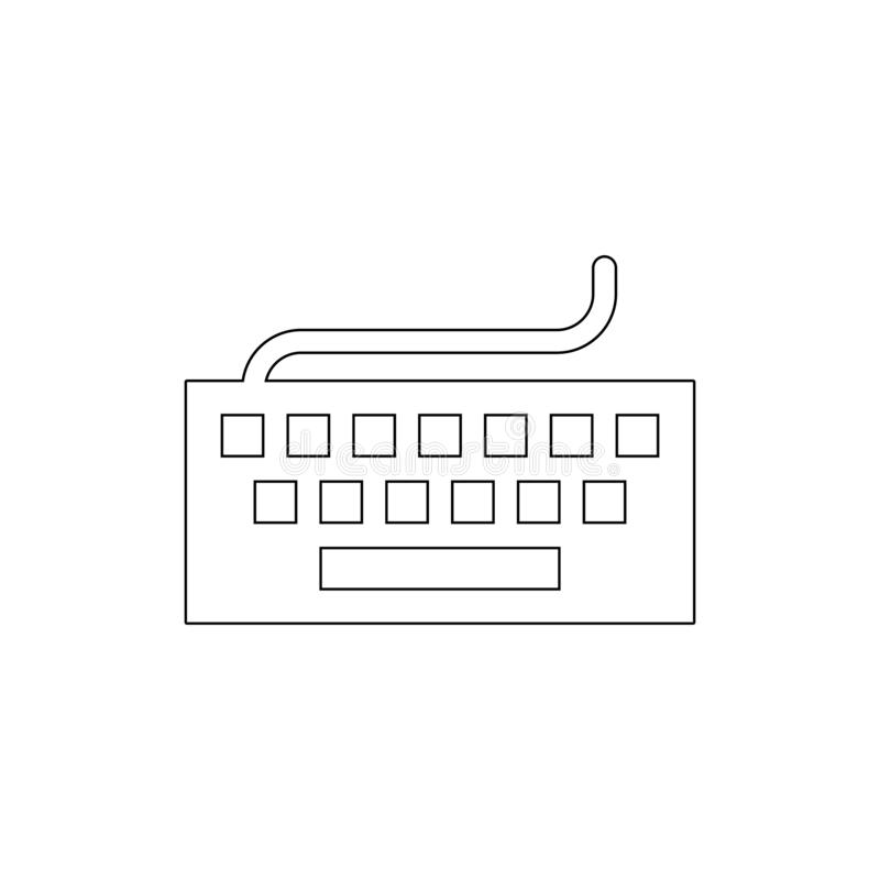 Hardware input keyboard typing outline icon. Signs and symbols can be used for web, logo, mobile app, UI, UX royalty free illustration