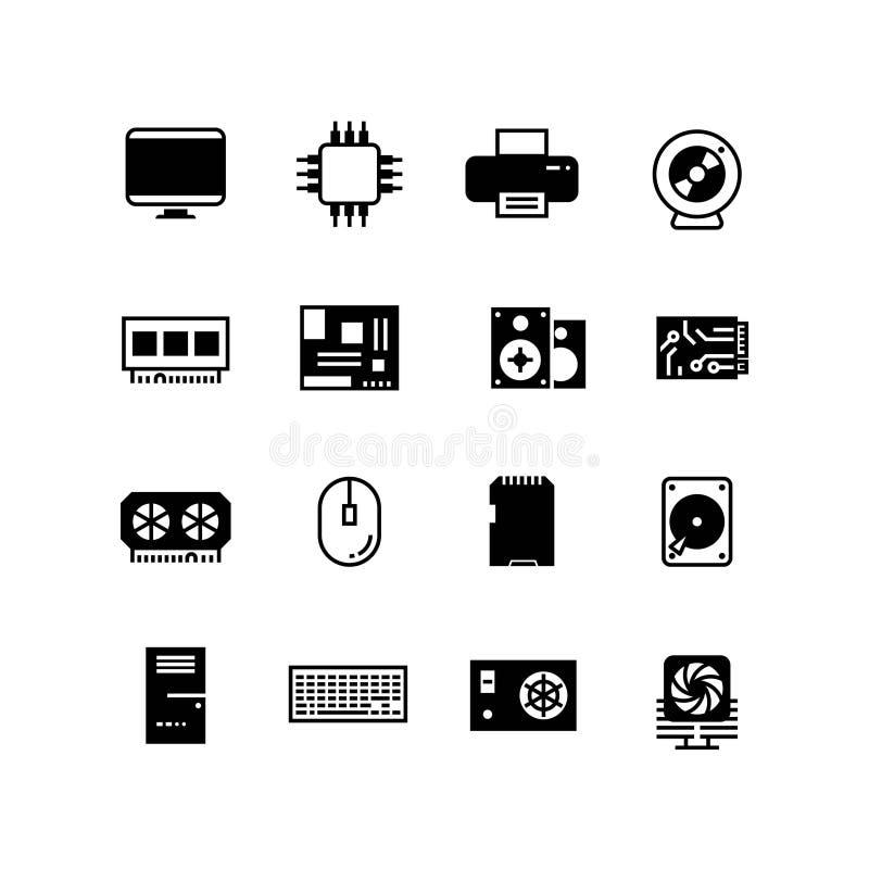 Hardware, memoria del hdd, ram, microchip, icone di vettore del CPU illustrazione vettoriale