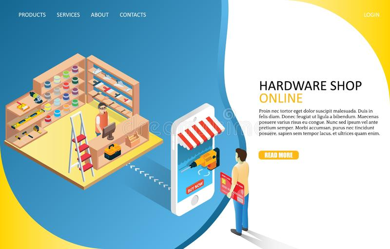 Hardware online shop landing page website vector template. Hardware online shop landing page website template. Vector isometric illustration of man buying drill royalty free illustration