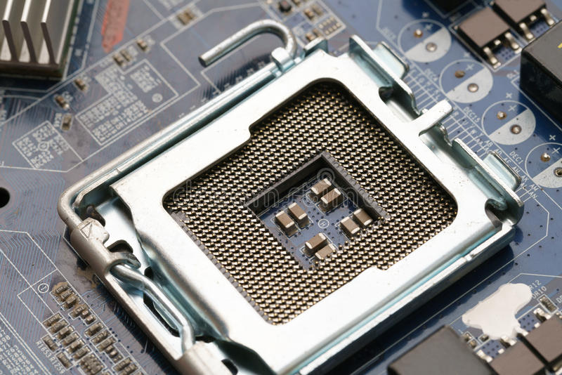 Hardware. Photo of processor on motherboard. Close-up stock images