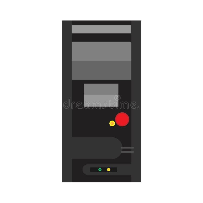Hardware plano del servidor del icono del vector del ordenador de la torre, red negra de la caja de la CPU de la PC Almacenamient ilustración del vector