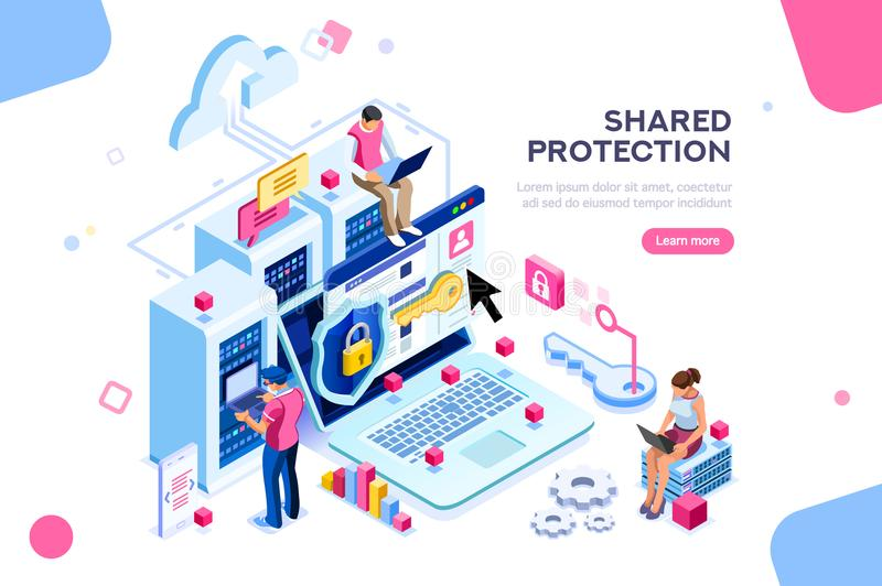 Hardware Protection Concept. Online administrator, web hosting concept. Technician repair software. Hardware protection share infographic. Store safe server royalty free illustration