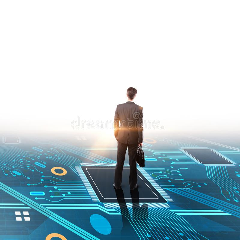 Hardware and research concept. Businessman on abstract circuit background. Hardware and research concept. 3D Rendering royalty free stock photos