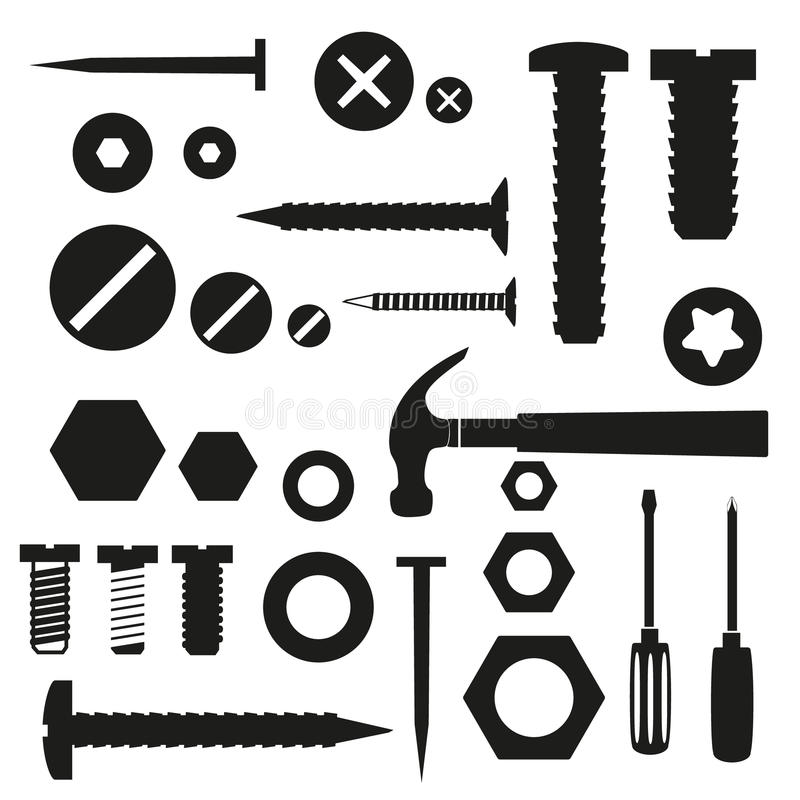 Hardware screws and nails with tools symbols stock illustration