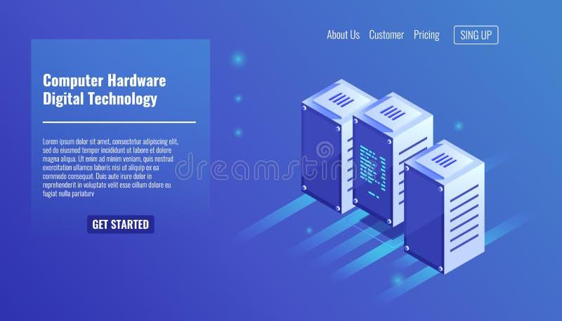 Hardware, sitio del servidor, estante, tecnología digital, centro de datos, estancia de tres ordenadores en vector isométrico de  libre illustration
