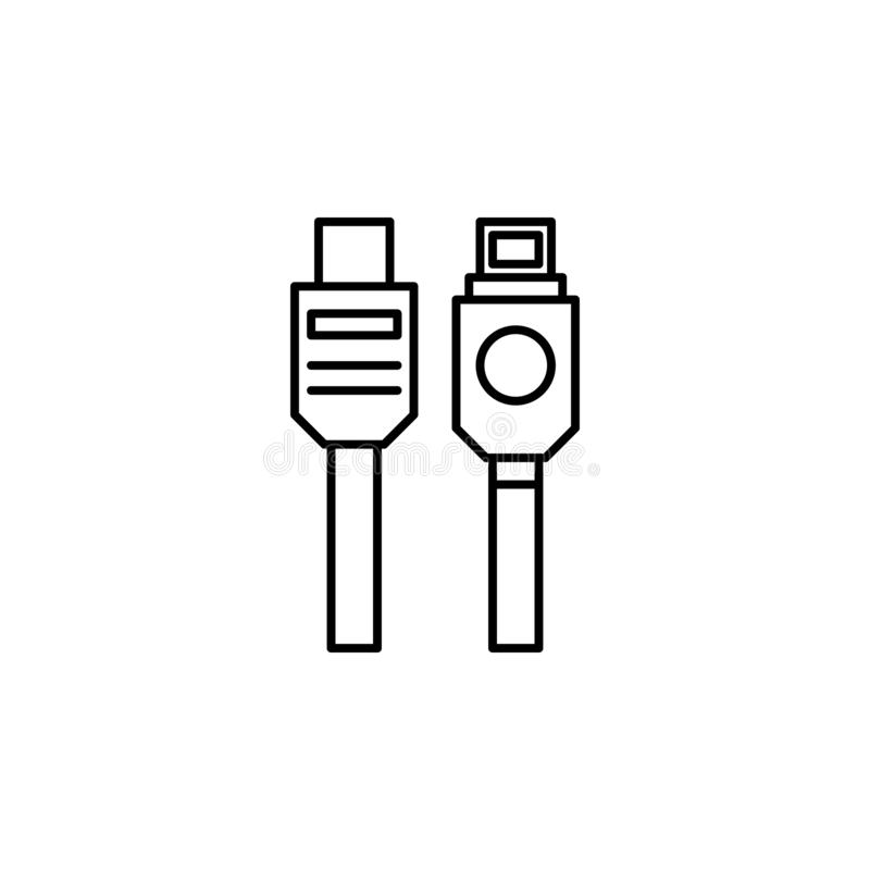 hardware, USB cable icon. Simple thin line, outline vector of hardware icons for UI and UX, website or mobile application royalty free illustration