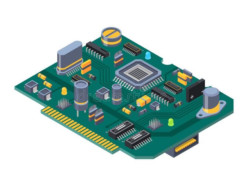 Hardwaremateriaal voor computers Halfgeleiders, condensator en spaanders royalty-vrije illustratie