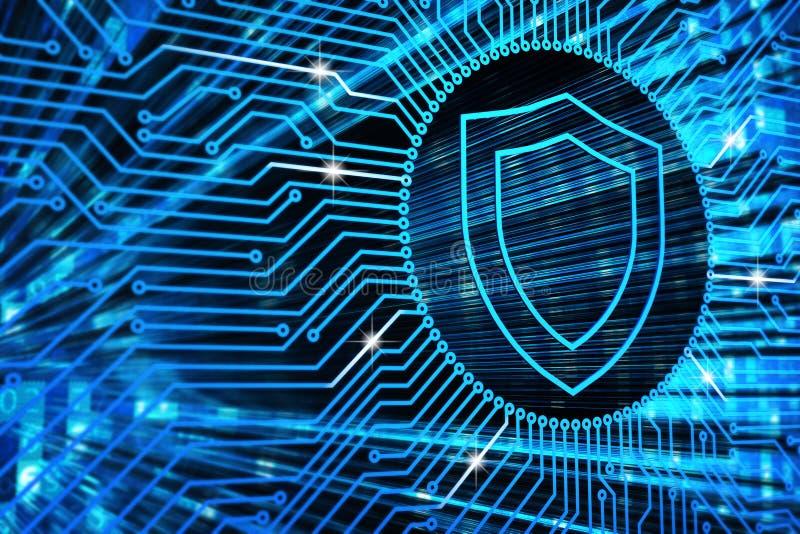 Hardwareveiligheid, computergegevensbescherming en elektronisch technologieconcept royalty-vrije illustratie