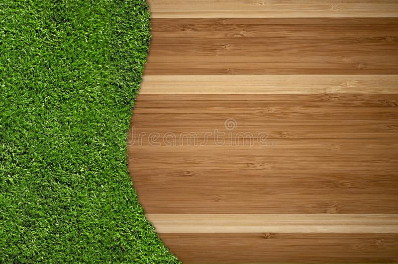 Hardwood Floor and Grass. Creative Background Design. Great Copy Space For Home and Garden Related Artworks stock photos