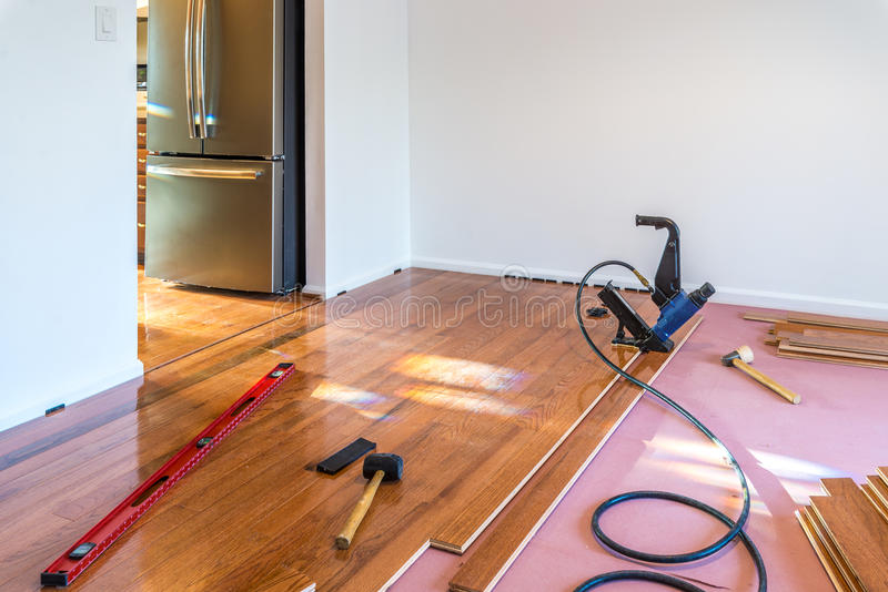 Hardwood floor installation stock photography