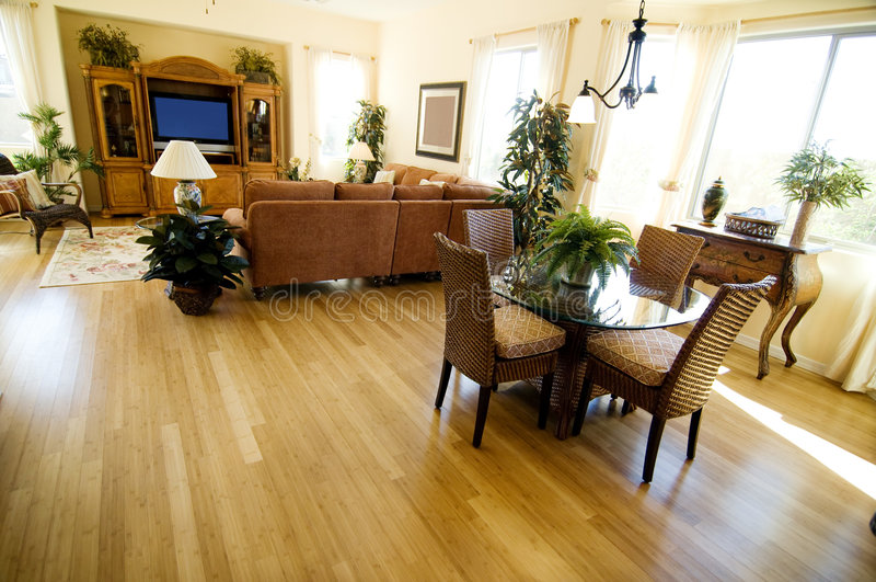 Hardwood Flooring in open plan home. Hardwood Flooring in a large open plan home royalty free stock photography