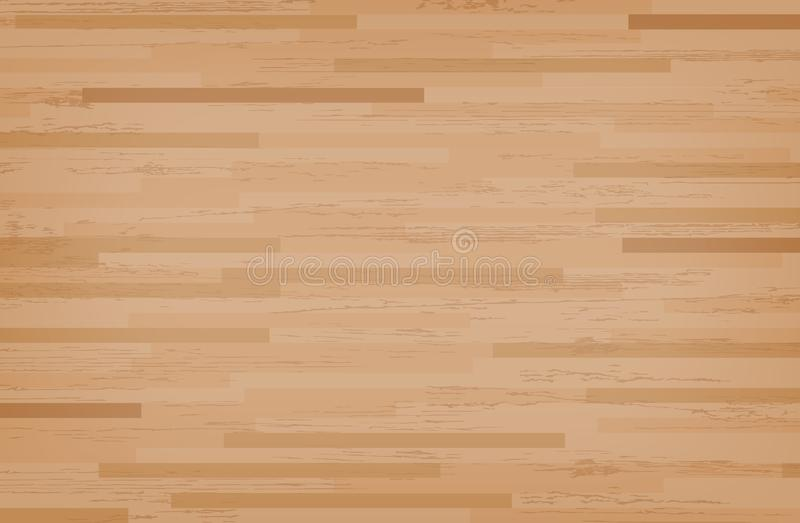 Hardwood maple basketball court floor viewed from above. Wooden floor pattern and texture. Vector. Illustration royalty free illustration