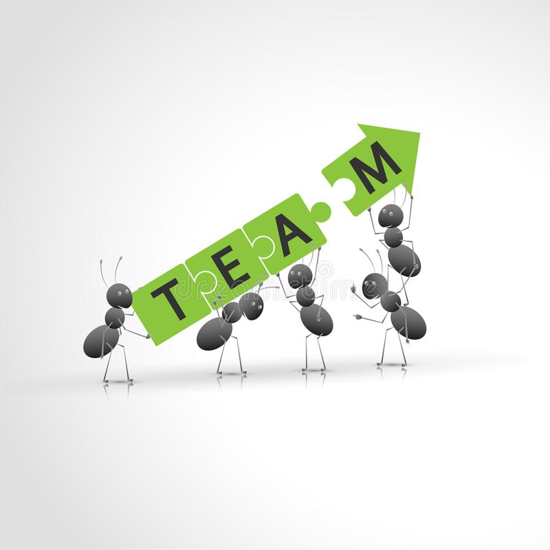 Hardworking ants working as a team. New design. Hardworking ants working as a team. The road to success. New design royalty free illustration